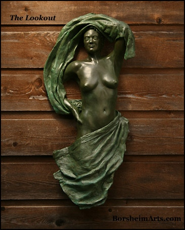 """The Lookout:  30"""" h x 15"""" w x 5"""" d; female figure with cloth (green patina, unique bronze)"""