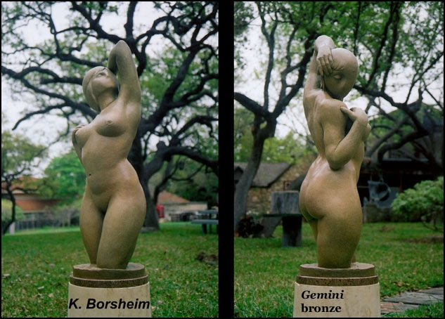 """Gemini:  41"""" h x 15"""" x 12""""; abstracted female figure (two faces); granite base"""