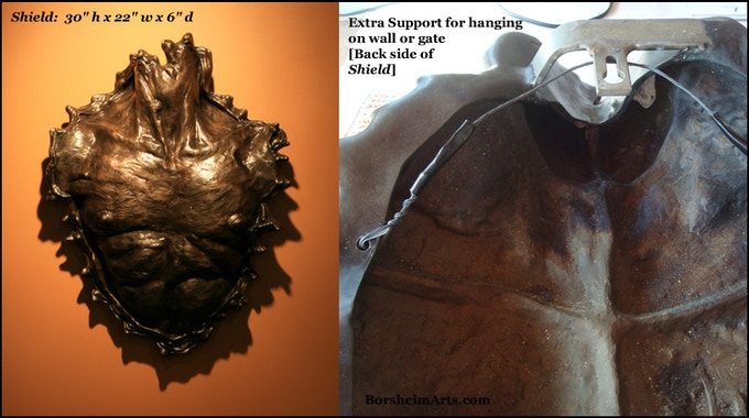 """Shield:  30"""" h x 22"""" w x 6"""" d; wall-hanging male chest (larger than life)"""