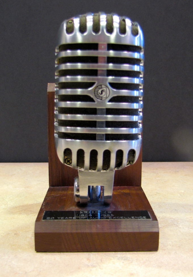 The Executive Producer Microphone Trophy. Your name goes on the plaque!