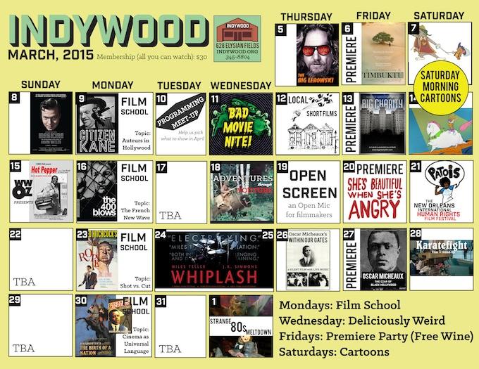 The Indywood March Calendar
