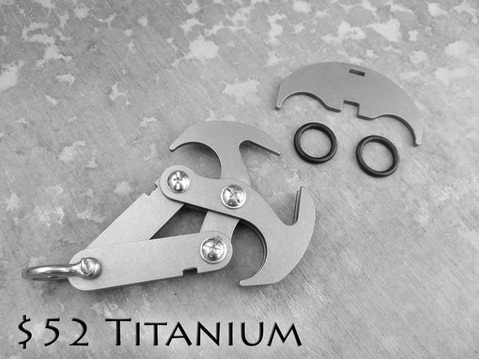 Above image is 304 stainless steel for example purposes. This tier will ship in G2 Titanium.This design is evolving with backer feedback. You will receive the most updated version when the project closes.