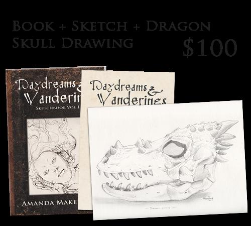 Original Dragon Skull Drawing, 9 x 12 inches.