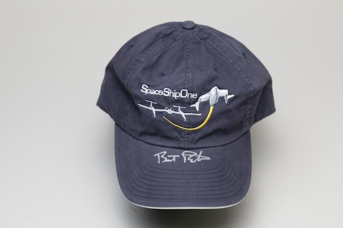 Pledge of $500 or more: The SPACESHIPONE BASEBALL CAP signed by Burt Rutan!