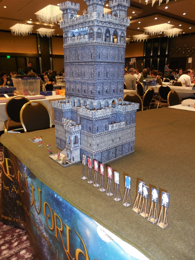 The BEACON HILL KEEP test model set up for a game at ORCCON, a game conference held at the LAX Hilton, California.