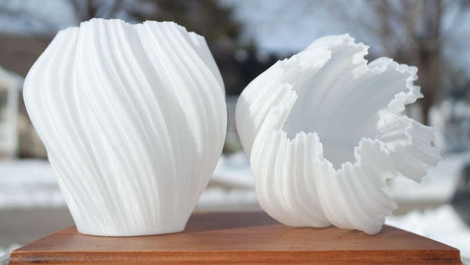 2 x Twisting Kochflake Vase by BenitoSanduchi (White Nylon, .2mm, 60mm/s)