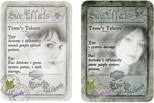 custom side effect cards from VectoriaDesigns for the Absolute Alchemist, Ascending Alchemist, and Amazing Alchemist pledge levels