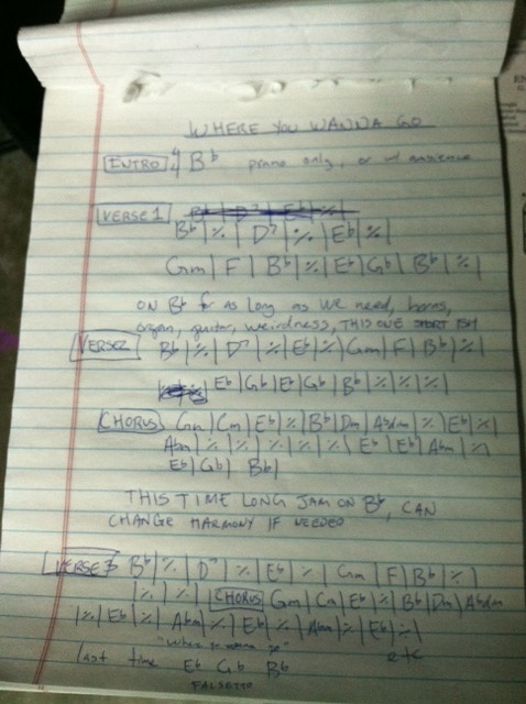 chord chart for Erik & Kelly's song for collaborative album