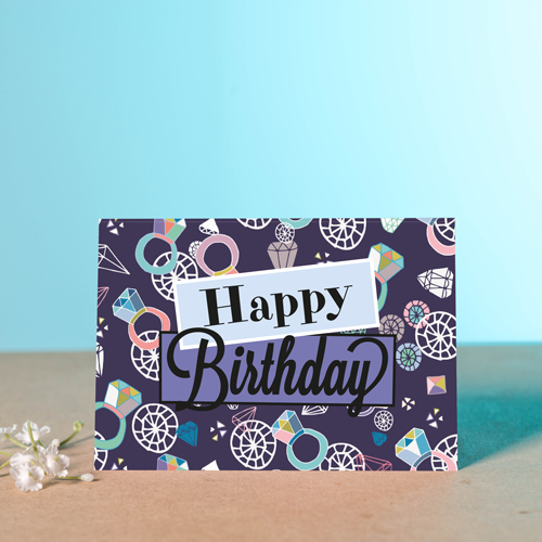 Bling Rings Birthday Card