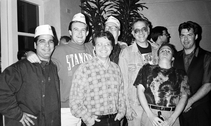 The burgeoning self-publishing movement: Jimmy Palmiotti, James Owen, Scott McCloud, Don Simpson, Larry Marder, Martin Wagner, and Dave Sim at the 1993 San Diego Comic-Con.
