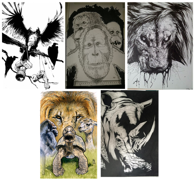 From left to right, top to bottom: 'Vultures' - Conor Boyle, 'Utans' - Iain Laurie, 'King' - Steve White, 'Captives' - Kev Mullins and 'Horn' - Andy Bloor