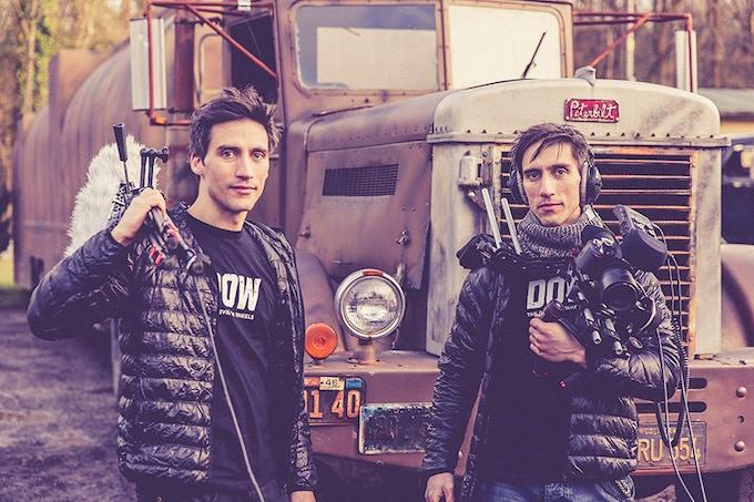 Crew members Gab and Luca Stifani wearing the DOW T-Shirt
