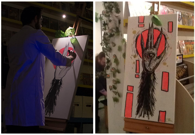 Exhibition launch live painting by John Pearson