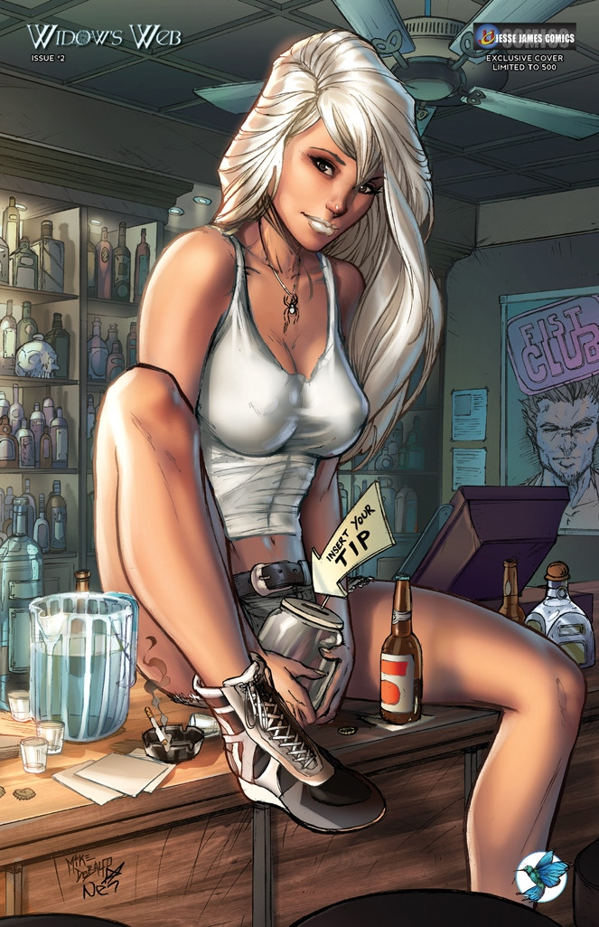 "WIDOW'S WEB #2 JESSE JAMES COMICS ""HAPPY HOUR"" EXCLUSIVE COVER by Mike Debalfo and Ula Mos (limited to 500 copies)"