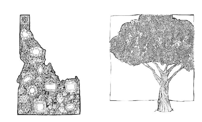 """Gem State"" and ""10,000 Leaves"" prints Boise artist Ryan Hadden"