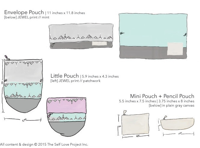 Drawings of our Envelope + Little pouches, and our pouch accessories.
