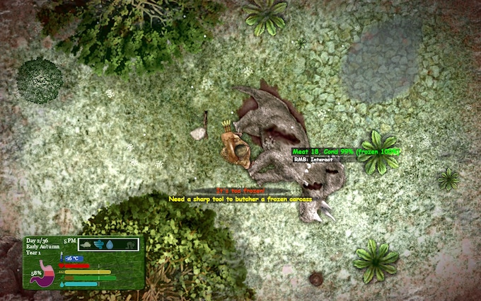 Butchering skill determines your ability to dismember dinosaurs into pieces... but first you need to kill them.