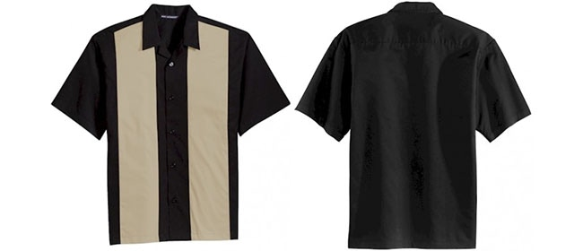 Front and Back of bowling shirt. Colors approximate as supplier may change.
