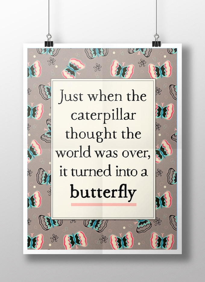 "8x11"" Butterflies Inspirational Quote Wall Art"