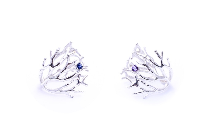 Dendrite Ring with blue Sapphire (left) and Amethyst (right)