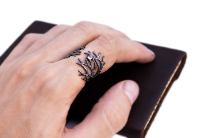 Oxidised Dendrite Ring with white Sapphire