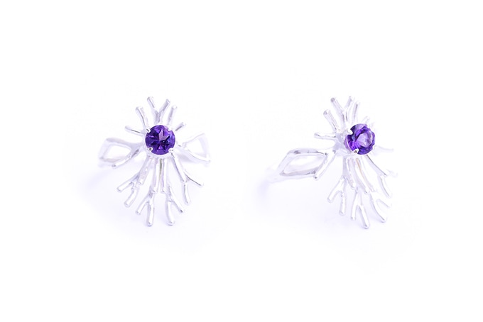 Sterling Silver Astrocyte ring with Amethyst