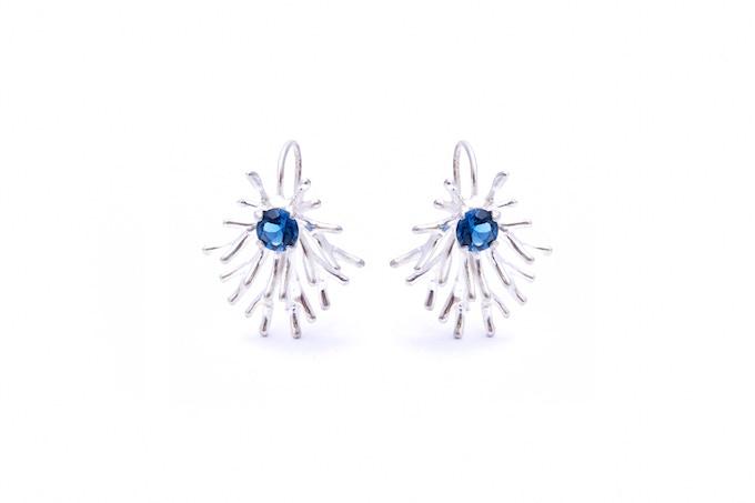 Astrocyte Earrings with London Blue Topaz