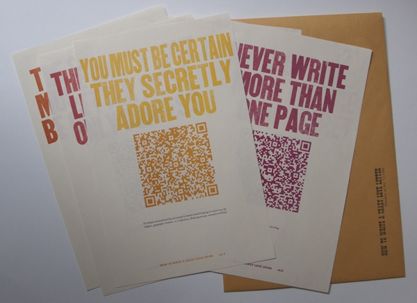 """How to Write a Crazy Love Letter"" Installation set (7 posters). Archived by Baylor, UCLA, USD, UW, and Otis College special collection libraries."