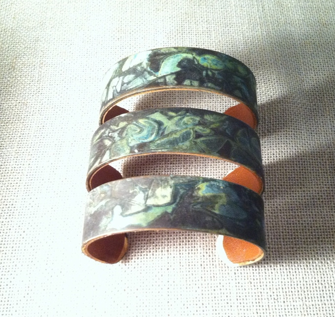 Leather lined metal patina cuff