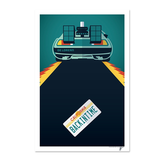 Exclusive Signed Andrew Heath Back in Time Delorean Print