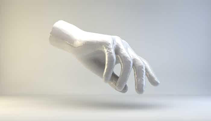 Jeremy Bailey, Famous New Media Artist's Hand, artist render, 2014.