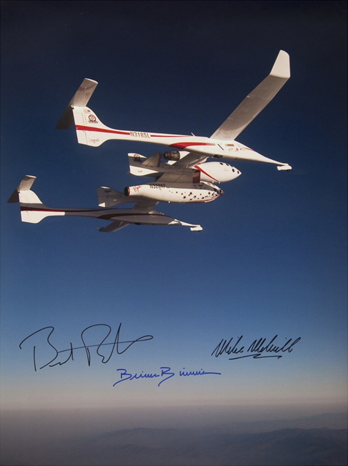 Pledge of $2,800 or more:  The SPACESHIPONE PRINT signed by Burt Rutan, Mike Melvill and Brian Binnie.