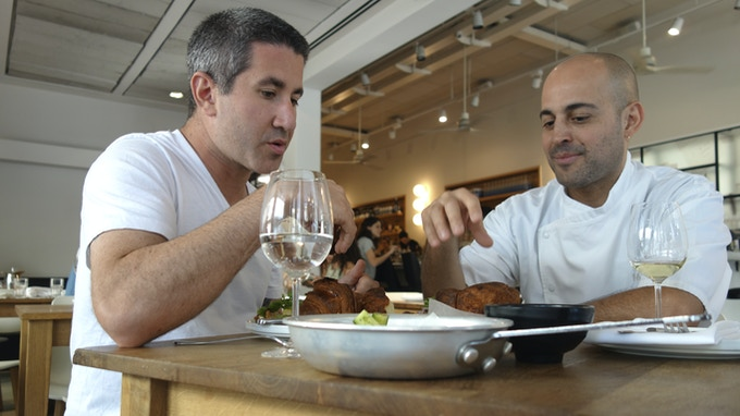 Mike Solomonov and Meir Adoni at Mizlala in Tel Aviv