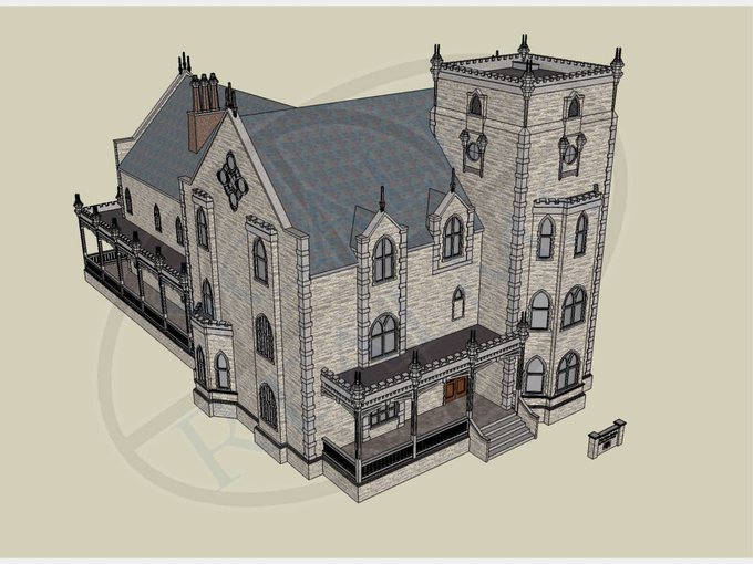 Culver Hall after finishes are applied in Sketchup.