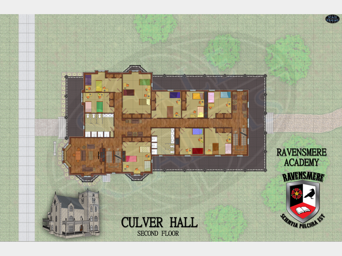 Culver Hall second floor map with the finished 3D model applied in Photo Shop Elements.