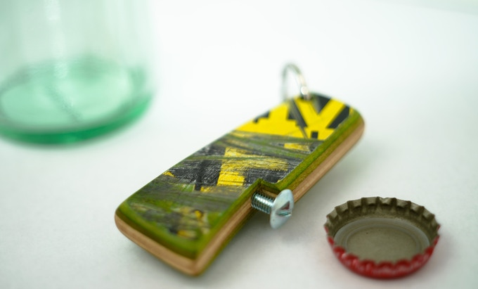 Reward number two is a Recycled Skateboard Bottle Opener.