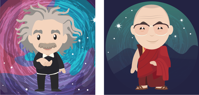 Initial illustrations of Einstein and the Dalai Lama