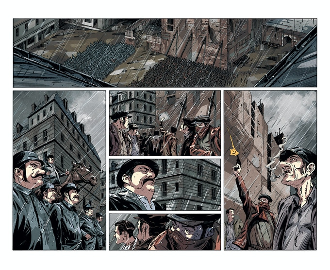 "Worker's Strike - Large Colour Print -        W 150cm x H 100 cm (W 59""x H 39.3"") Signed By Artist Attila Futaki."