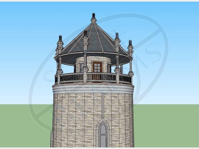 Water tower after finishes are applied in Sketchup.