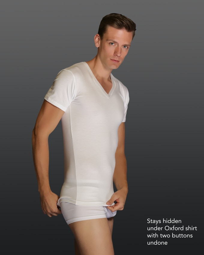 Pardon the tighty whitey underwear. This is the shirt we're going to make.  Notice the light body hugging fit.