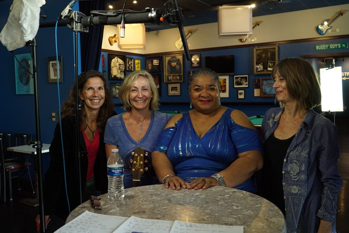 Grana Louise with the crew on set.