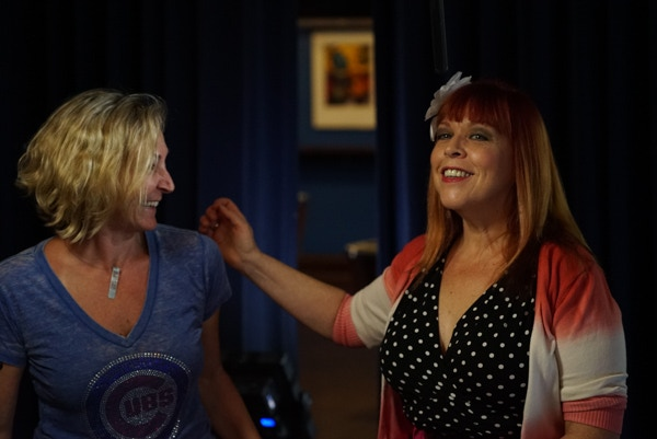 Liz Mandeville and Lisa Eismen on set at Buddy Guy's Legends.