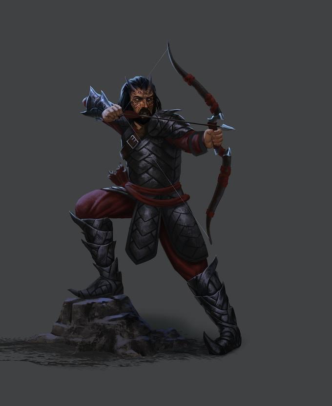Drakyri archer, guarding his homestead