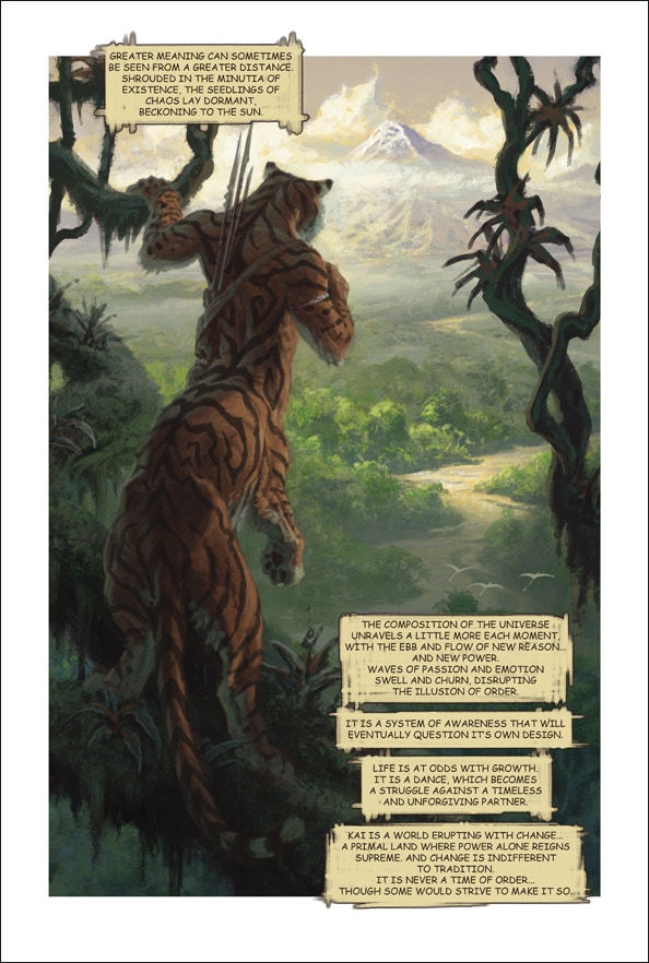 Tribes of Kai, page 1. Features sixty fully painted pages by Daren Bader!