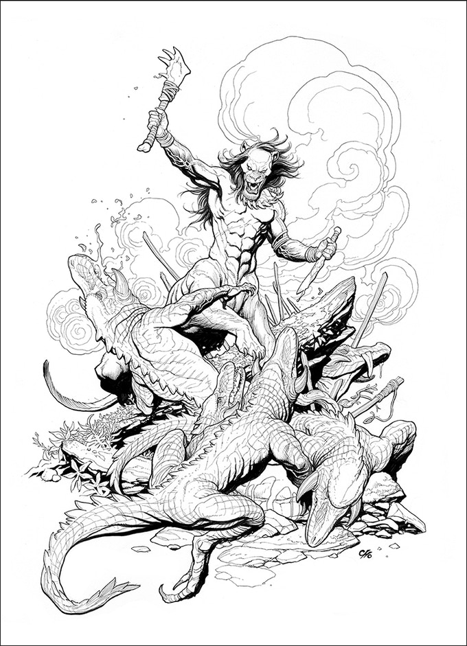 Tribes of Kai pinup by Frank Cho. This and nearly a dozen more pieces by top creators will be included in a special gallery section.