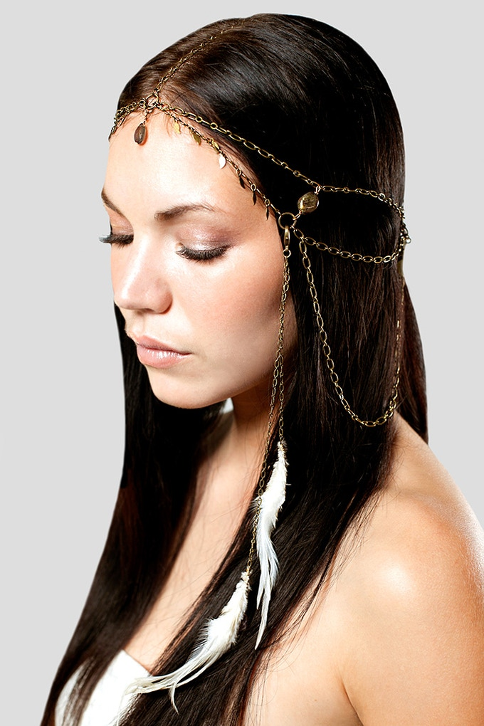 Labradorite crown head piece with side feathers from Aya Papaya