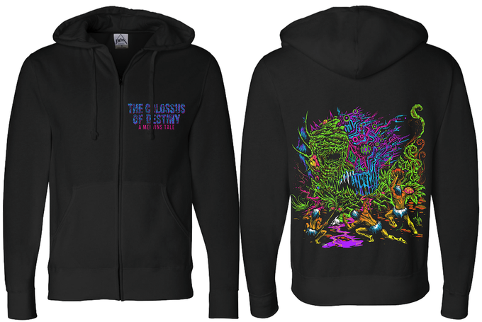 Skinner art on a Black Full-Zip Independent Trading Hoodie. Sizes Small thru 3XL.