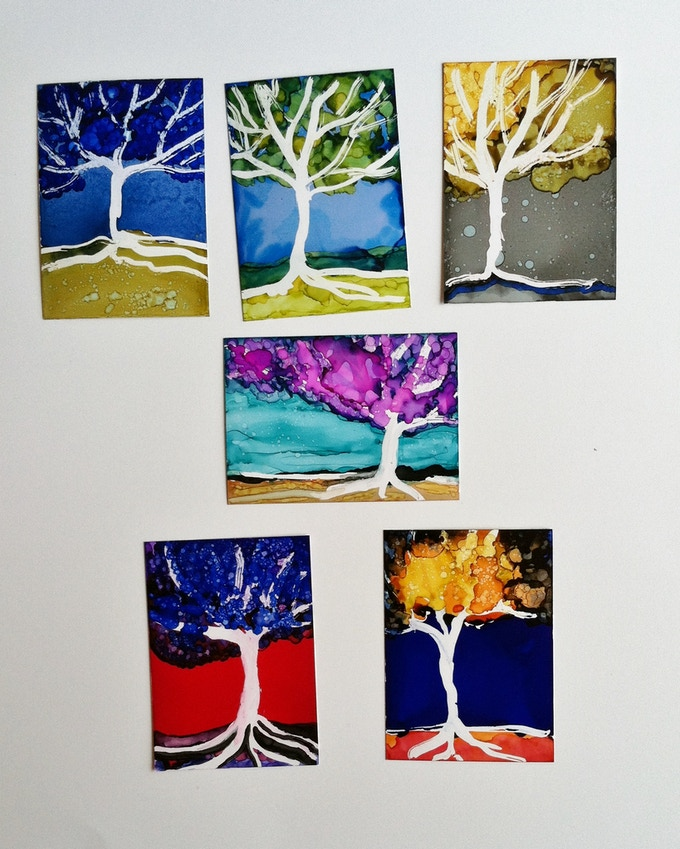 Here is a sample of the 2.5 x 3.5 inch tree paintings.