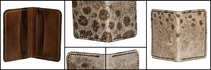 Wolffish and goat skin card wallet