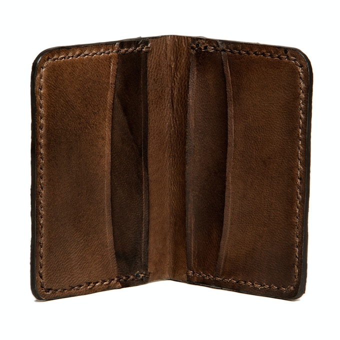 Brown Slim Jim card wallet with wolffish fish leather